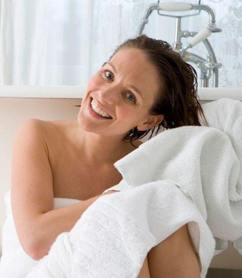 woman toweling her hair