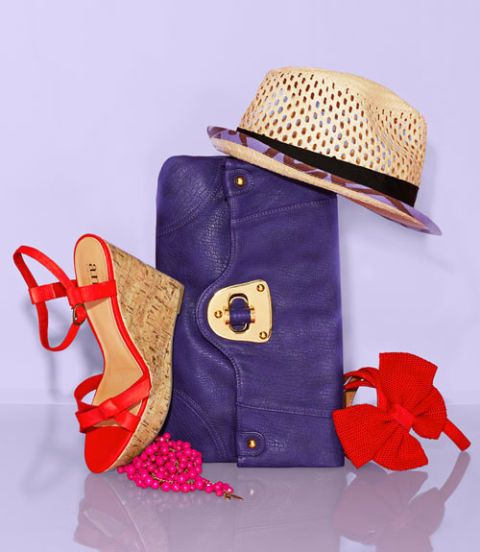 colorful handbag hat and sandals