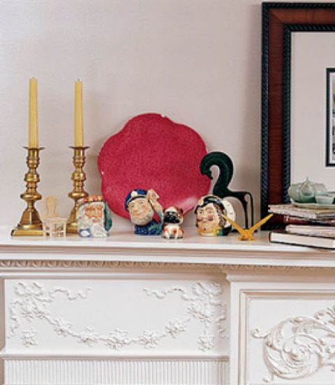 cluttered mantel