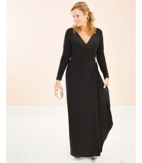 make me over black faux wrap dress