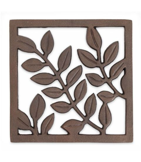 crate and barrel bronze leaf trivet