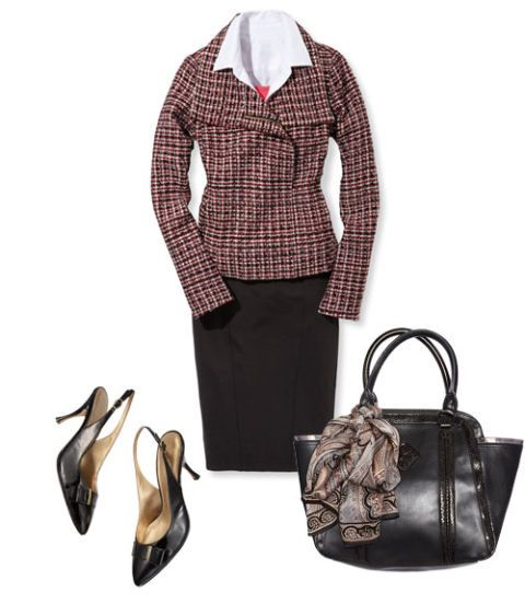 zip front jacket and pencil skirt