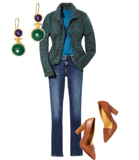 aqua flecked jacket and jeans