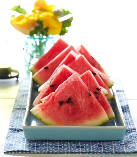 watermelon slices with lime honey syrup