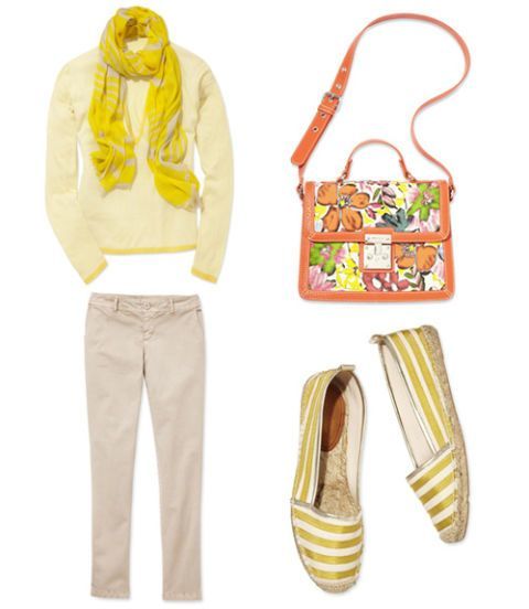 yellow sweater yellow espadrilles