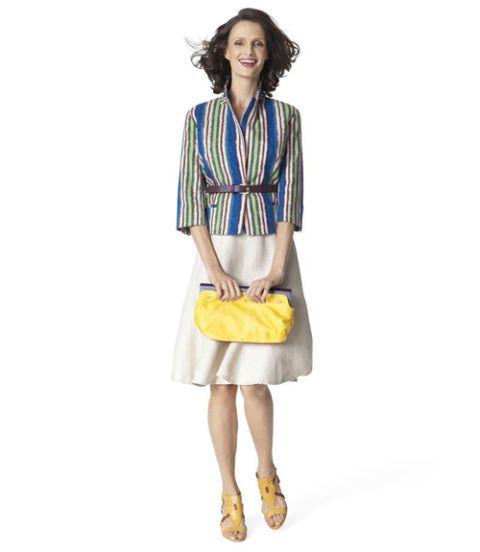 woman in striped blazer