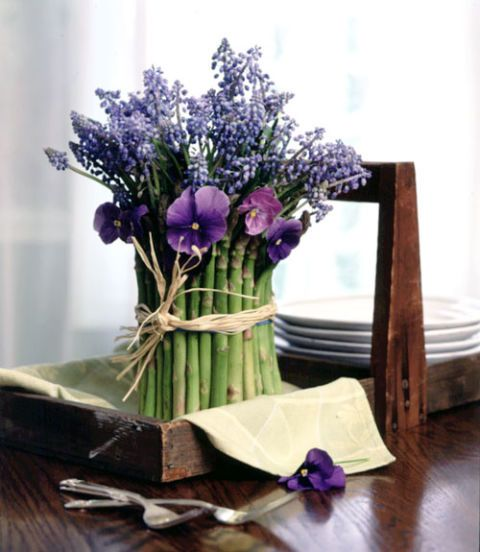 asparagus and flower arrangement