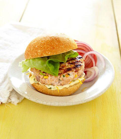 salmon burgers with lemon basil mayo