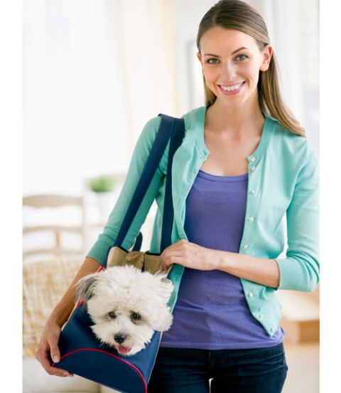 woman holding dog in carrier