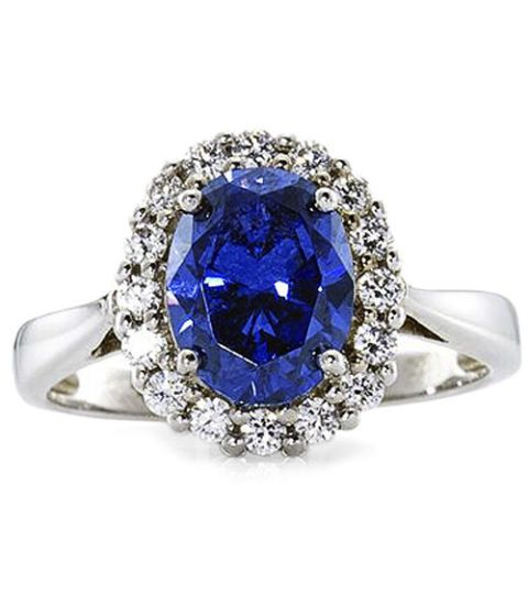 princess simulated sapphire ring