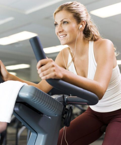 girl on exercise machine