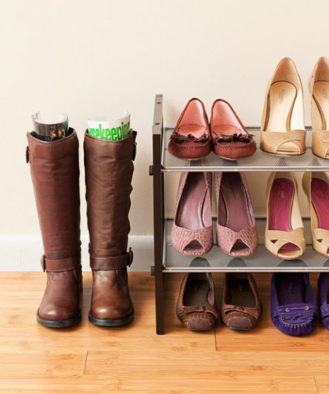 boots plus flats and pumps on a rack