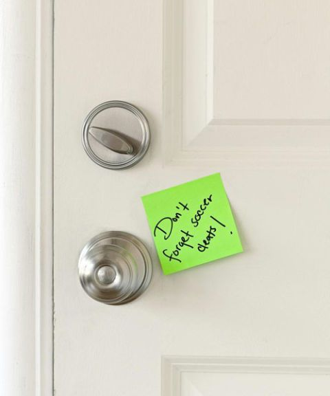 sticky note on door