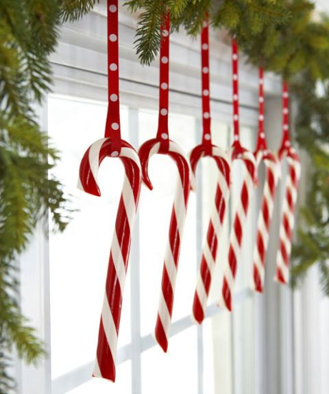 hanging candy canes in window