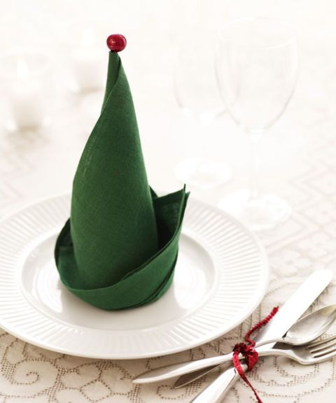 elf hat on plate