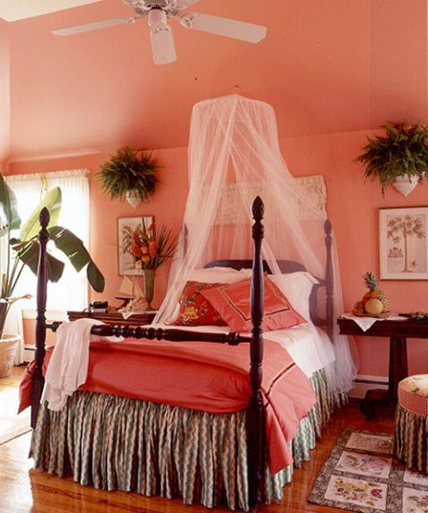 coral hued bedroom