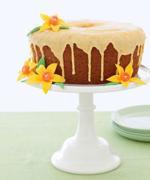 tangerine cake with candy flowers