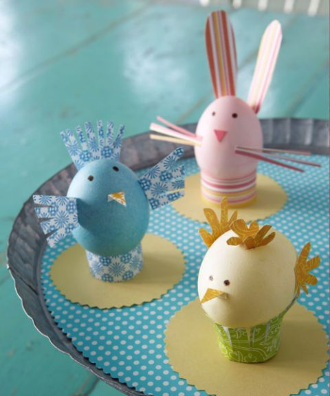 eggs decorated as spring animals