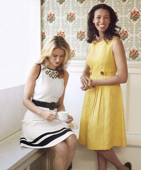 women in spring dresses