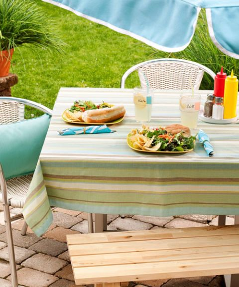 picnic table with food