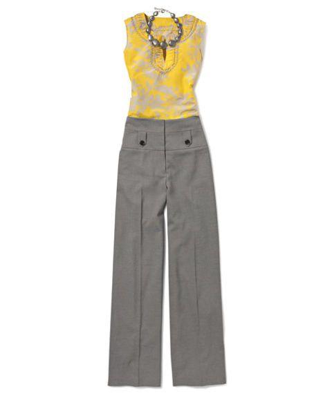 yellow top, wide leg pants, tucked in