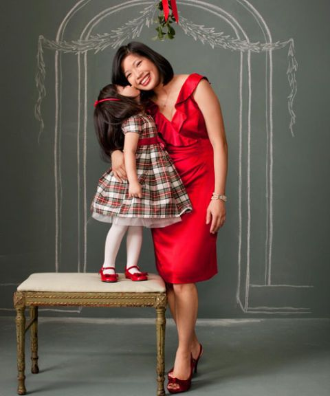 mom and daughter in holiday party dresses