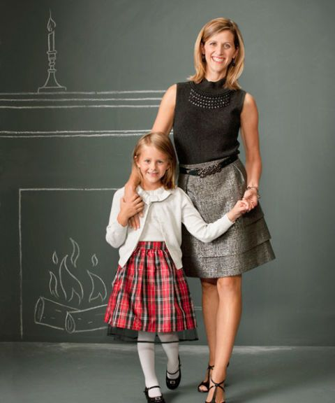mom and daughter in holiday party apparel