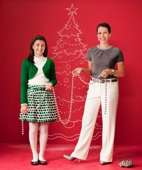mom and teen daughter in holiday outfits