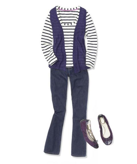 purple knit vest with jeans and ballet flats outfit