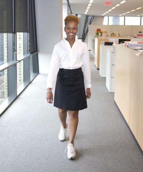 woman walking at work