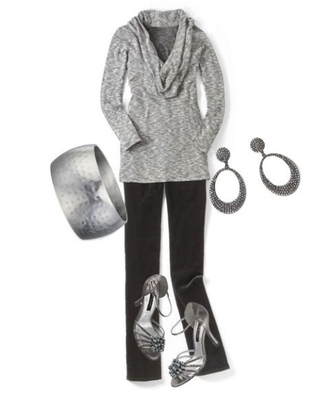 gray cowl-neck and accessories