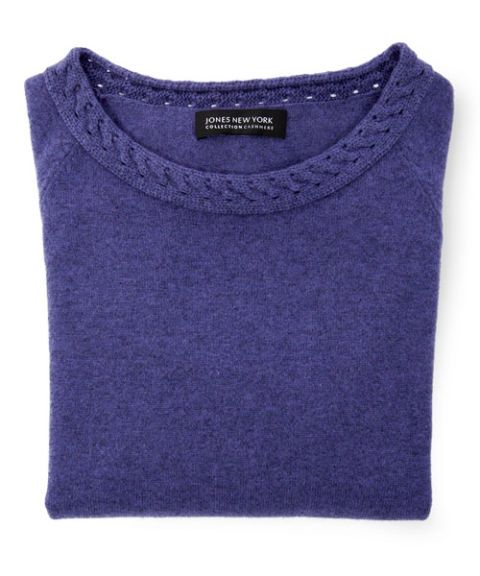 Jones New York Collection Cashmere Cable Neck Pullover