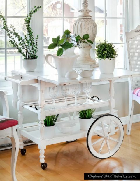 Tea Cart Makeover Unique Houseplant Ideas