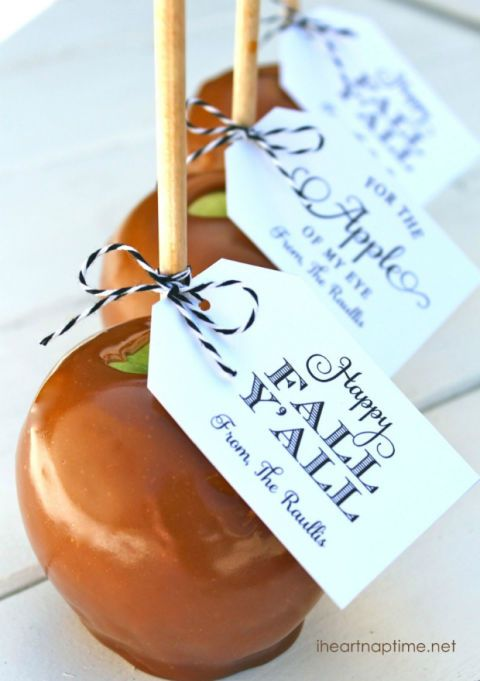 caramel apples with a message
