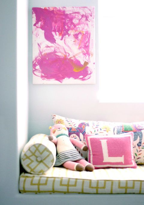 Room, Pink, Interior design, Magenta, Purple, Paint, Pillow, Throw pillow, Couch, Cushion,