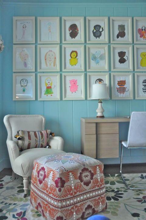 Blue, Room, Interior design, Green, Textile, Furniture, Wall, Teal, Turquoise, Aqua,