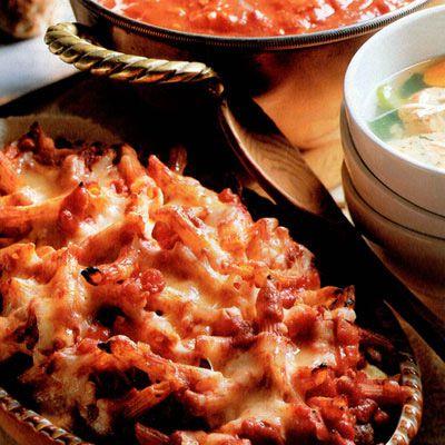 sunday baked ziti and meatball casserole