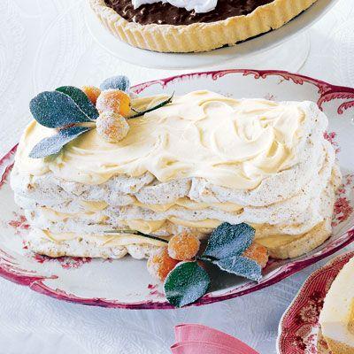 pecan meringue layer cake with orange cream
