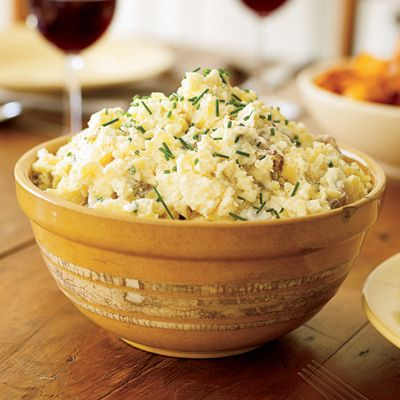 Smashed Potatoes with Yogurt and Chives
