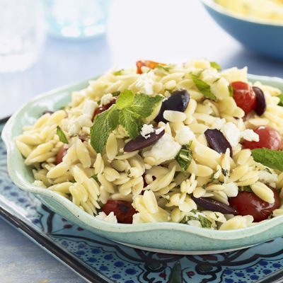 orzo salad with feta grape tomatoes and mint