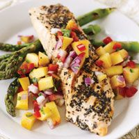 tarragon-rubbed salmon with nectarine salsa and grilled asparagus