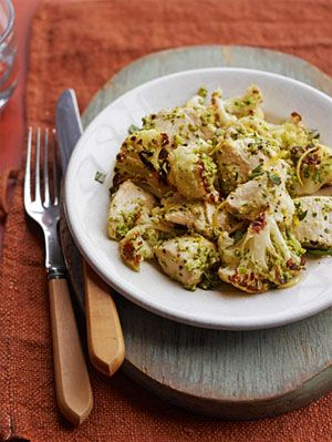 chicken with caramelized cauliflower and green olives
