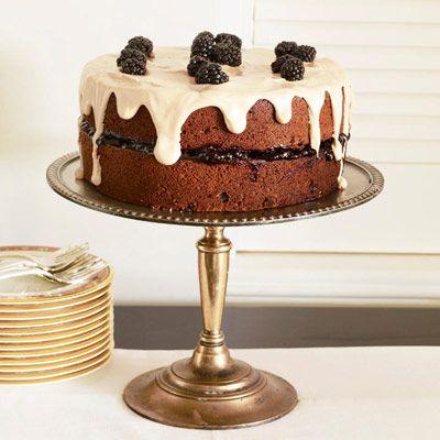 caramel iced blackberry jam cake