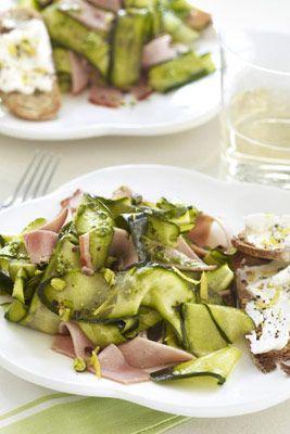 zucchini and ham ribbons