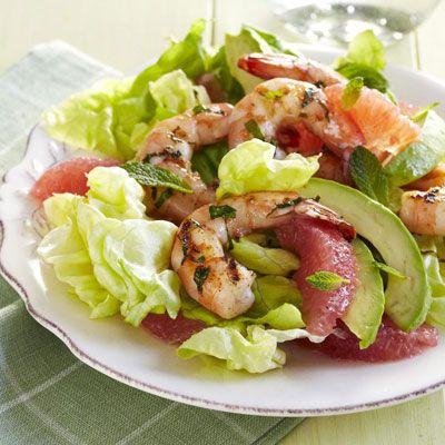 lime rubbed shrimp with avocado grapefruit salad