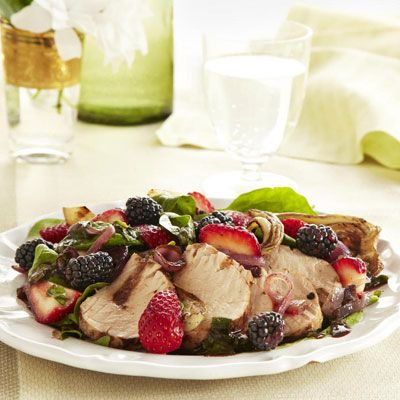 balsamic roasted pork with berry salad
