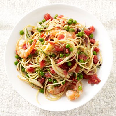 shrimp and fennel spaghetti