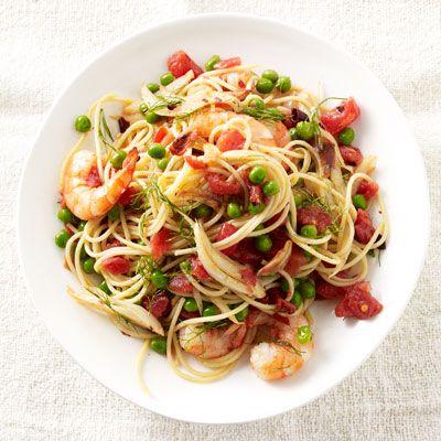 shrimp and fennel spaghetti