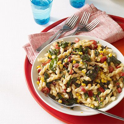 Pasta with Garlicky Swiss Chard and Corn