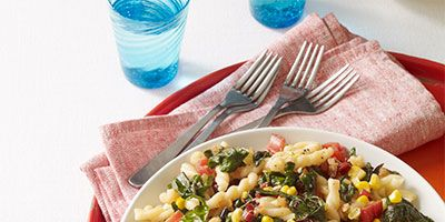 20 summer pasta salad recipes best cold pasta salads pasta with garlicky swiss chard and corn forumfinder Images